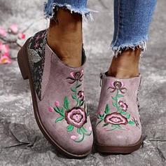 PU Χοντρό φτέρνα Μπότες ποδιών Στρογγυλά παπούτσια Με Λουλούδι Virágos παπούτσια