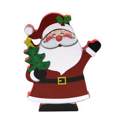 Classic Beautiful Cute Santa Christmas Wooden Tree Hanging Ornaments Door Hanging Christmas Ornements Home Accents (Sold in a single)