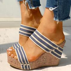 De mujer PU Tipo de tacón Sandalias Encaje Pantuflas con Rivet zapatos