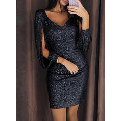 Print Long Sleeves Bodycon Above Knee Little Black/Party Dresses