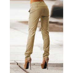 Jednolity Niejednolita całość Marszczona Duży rozmiar Długo Elegancki Chudy Równina Spodnie
