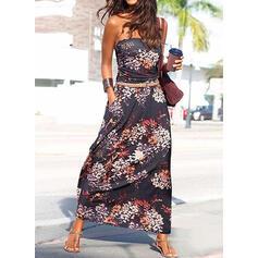 Print Sleeveless A-line Skater Casual/Boho/Vacation Maxi Dresses