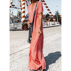 印刷 半袖 シフトドレス カジュアル マキシ ドレス