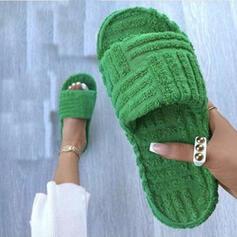 Dámské Falešná srst Placatý podpatek Sandály S otevřenou špičkou Pantofle S Solid Color obuv