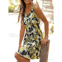 Impresión/Floral/Escotado por detrás Sin mangas Cubierta Hasta la Rodilla Casual/Vacaciones Tanque Vestidos