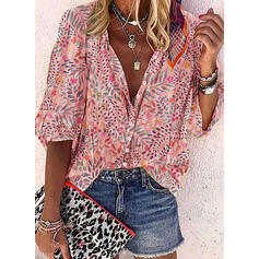 Print Floral Lapel Long Sleeves Button Up Casual Blouses