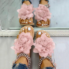 De mujer PU Tacón plano Sandalias con Cuentas Flor zapatos