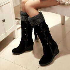 De mujer PU Tipo de tacón Botas longitud media Botas de nieve con Cordones zapatos
