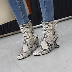 Pentru Femei Imitaţie de Piele Toc gros Cizme Cu vârful cu Cataramă Splice Color pantofi