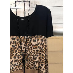 Color Block Leopard Kulatý Výstřih Krátké rukávy Trička