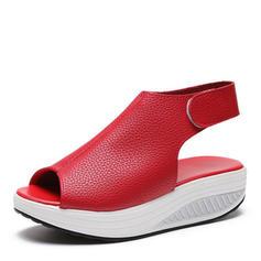 PU Tacón plano Sandalias Planos con Velcro zapatos