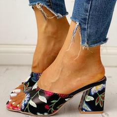 Women's PU Chunky Heel Sandals Peep Toe Slippers shoes