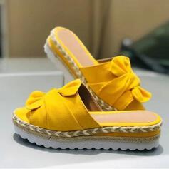 De mujer Cuero Tipo de tacón Sandalias Solo correa Pantuflas con Bowknot zapatos