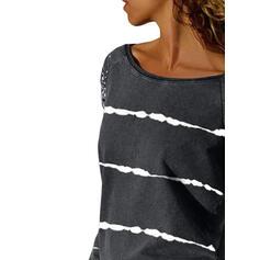 Stampa A righe In rilievo Girocollo Maniche lunghe Casuale Camicie
