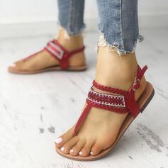 Kvinnor PU Flat Heel Sandaler Platta Skor / Fritidsskor Peep Toe Flip Flops med Strass Spänne skor
