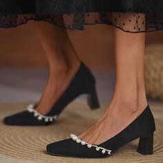婦人向け スエード チャンクヒール ポンプ かかと とともに イミテーションパール ソリッドカラー 靴