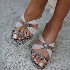 De mujer PU Tacón plano Sandalias Encaje con Rhinestone Hebilla zapatos