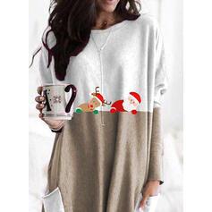 Színblokk Animal Print Kapsy Kulatý Výstřih Dlouhé rukávy Vánoční mikina