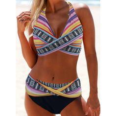 Pasek Nadruk Wiązany na szyi Seksowny Duży rozmiar Boho Bikini Stroje kąpielowe
