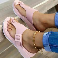 Kvinnor PU Kilklack Sandaler Plattform Kilar Peep Toe Flip Flops Tofflor Klackar med Spänne Ihåliga ut skor