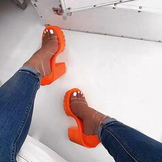 De mujer PVC Tacón ancho Sandalias Salón Plataforma Encaje zapatos