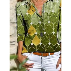Geometrica Risvolto Maniche lunghe Bottone Casuale Shirt and Blouses