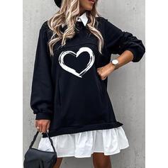 Tisk/Color Block/Srdce Dlouhé rukávy Šaty Shift Nad kolena Neformální Šaty