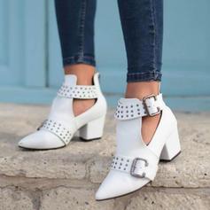Frauen PU Stämmiger Absatz Absatzschuhe Stiefel mit Niete Schnalle Schuhe