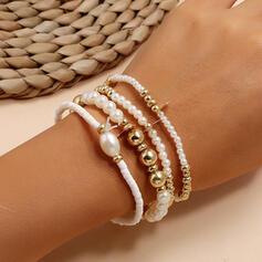 Layered Alloy Imitation Pearls Bracelets (Set of 4)