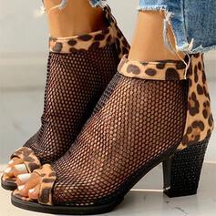 De mujer Cuero Tacón ancho Salón con Estampado de animales Agujereado zapatos