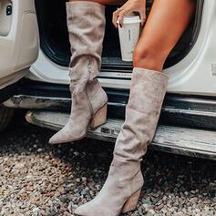 Donna Camoscio Tacco spesso Martin boots Punta a punta con Increspato Cerniera scarpe