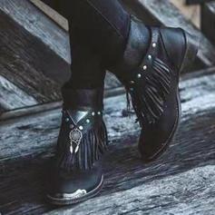 Pentru Femei PU Toc jos Cizme cu Cataramă Ciucure pantofi