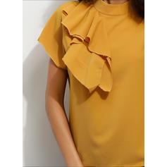 Sólido Gola Subida Manga Curta Casual Elegante Blusas