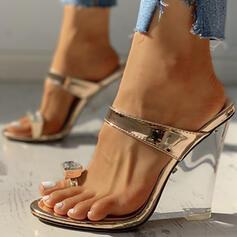 De mujer PU Tipo de tacón Sandalias Cuñas Encaje Pantuflas con Otros zapatos