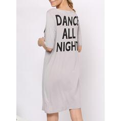 Cuello Redondo Manga Corta Impresión Casual Vestido de noche