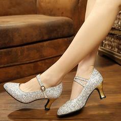 Mulheres sapatos de personagem Bombas Espumante Glitter com Correia de Calcanhar Salão de Baile
