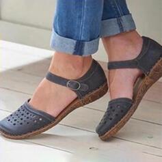 De mujer PU Tacón plano Sandalias Cerrados con Hebilla Agujereado zapatos
