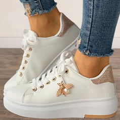 Women's Microfiber Flat Heel Flats High Top Round Toe Sneakers With Sequin Imitation Pearl Lace-up shoes