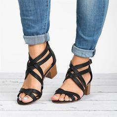 De mujer PU Tacón ancho Sandalias Salón Encaje Tacones con Hebilla zapatos
