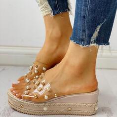 De mujer PVC Tipo de tacón Sandalias Encaje Pantuflas con Perlas de imitación zapatos