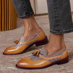 Dámské PU Placatý podpatek Boty Bez Podpatku Mokasíny S Tassel Splice Color obuv