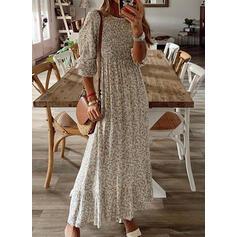 Nadrukowana Długie rękawy W kształcie litery A Łyżwiaż Casual Maxi Sukienki