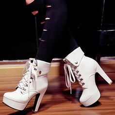 Pentru Femei PU Platforme Înalte Toc gros Platforme Cizme Botine Tocuri cu Bandă Elastică Culoare solida pantofi