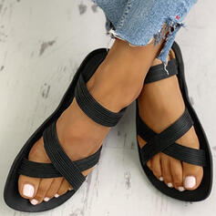 Kvinnor PVC Flat Heel Sandaler Peep Toe skor