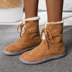 De mujer Ante Tacón plano Botas longitud media Encaje con Cordones Color sólido zapatos