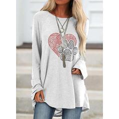 Animal Print Round Neck Long Sleeves T-shirts