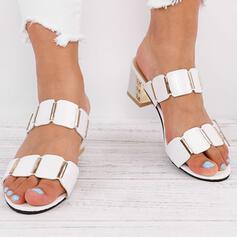 Mulheres PU Salto robusto Sandálias Bombas Chinelos com Outros sapatos