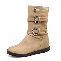 De mujer Cuero Tacón bajo Cerrados Botas Botas al tobillo Botas longitud media con Rivet Hebilla zapatos