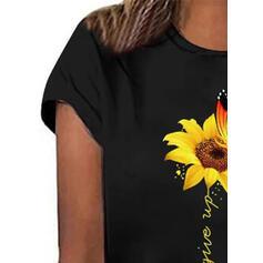 Estampado Animal Impresión de girasol Cuello redondo Manga corta Casual Camisetas