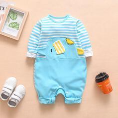 bébé Dessin Animé Striped Imprimé Coton Une pièce